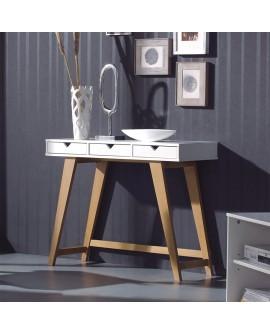 Console GINA de style scandinave laque blanche et bois de pin teinté chêne