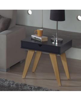 Bout de canapé GINA de style scandinave laque gris anthracite et bois de pin teinté chêne
