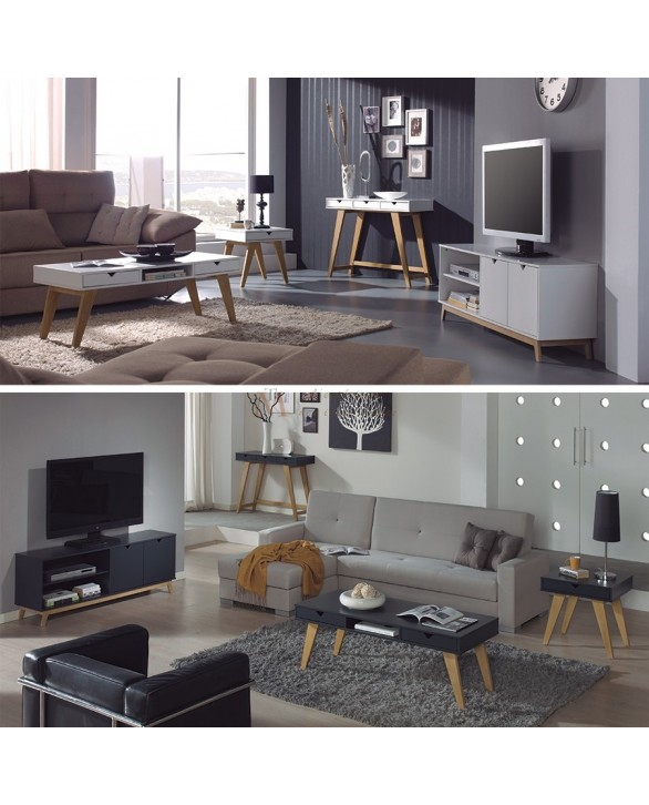 s jour scandinave 4 pi ces laque blanc ou gris pieds ch ne. Black Bedroom Furniture Sets. Home Design Ideas
