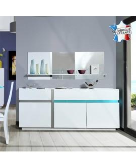 Buffet enfilade moderne 3 portes et 1 tiroir laquée blanc avec éclairage Led CLAUDIA