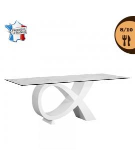 Table de salle à manger plateau verre trempé pied alpha laqué blanc SABRINA