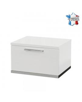 Chevet moderne 1 tiroir SALOME laque blanche brillante sur socle métal chromé