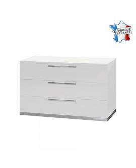 Commode moderne 3 tiroirs SALOME décor laque blanche brillante avec socle métal chromé