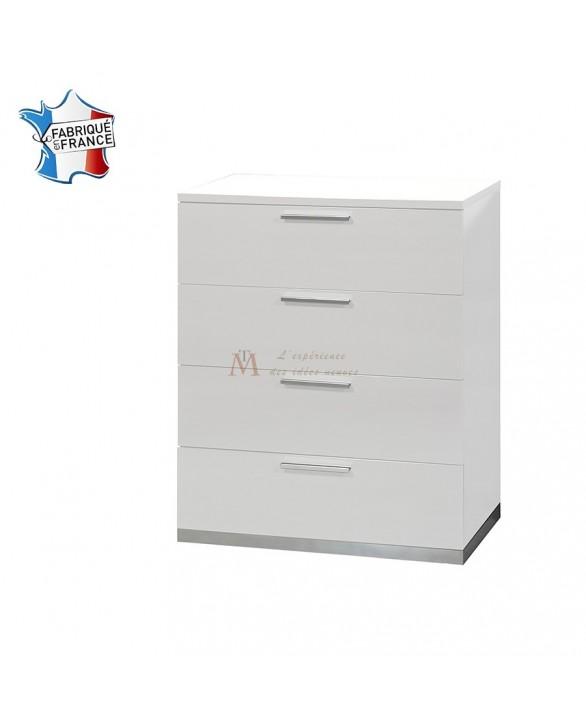 pratique et pas cher chiffonnier 4 tiroirs laque blanche. Black Bedroom Furniture Sets. Home Design Ideas