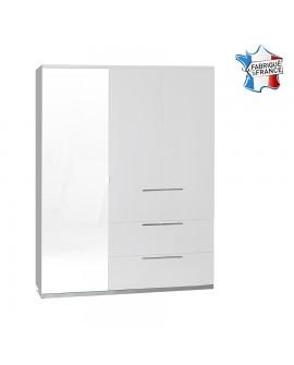 Armoire 3 portes dont 1 avec miroir 2 tiroirs SALOME laque blanc socle chrome
