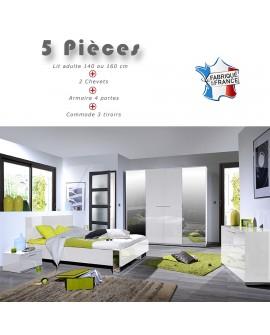 Chambre adulte complète lit 2 tailles, 2 chevets, commode et armoire 4 portes SALOME