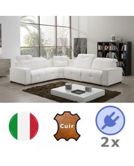 Canapé d'angle 3P+ANG+2P PARISSA avec 2 assises relax électriques et système audio intégré