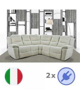 Canapé d'angle microfibre NOEMIE 5 vraies places 2 assises relax électrique