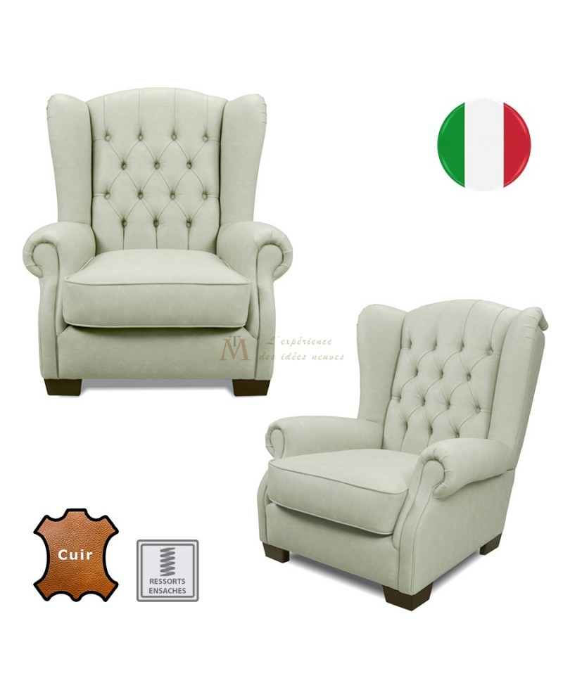 fauteuil club oreilles dossier capitonn cuir 9 coloris. Black Bedroom Furniture Sets. Home Design Ideas