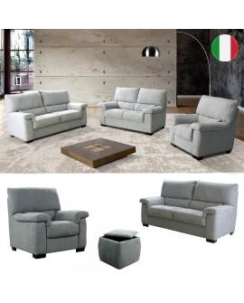 Ensemble salon 4 pièces BAKAR canapés 3 places et 2 places, 1 fauteuil et pouf coffre