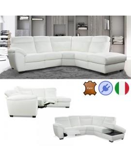 Canapé d'angle 2P+ANG+2P SOL avec 1 assise relax électriques et 1 assise coffre gain de place