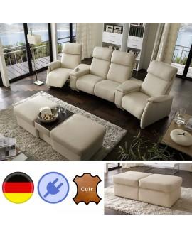 Magnifique ensemble canapé home cinéma CARLA 4 assises relax pouf modulable