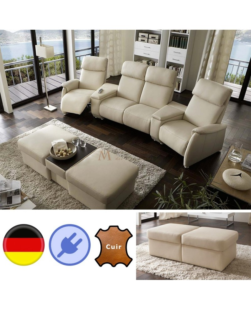 canap home cin ma cuir cru 4 places relax pouf modulable. Black Bedroom Furniture Sets. Home Design Ideas