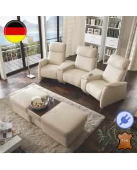 Ensemble canapé home cinéma CARLA 3 assises relax pouf modulable