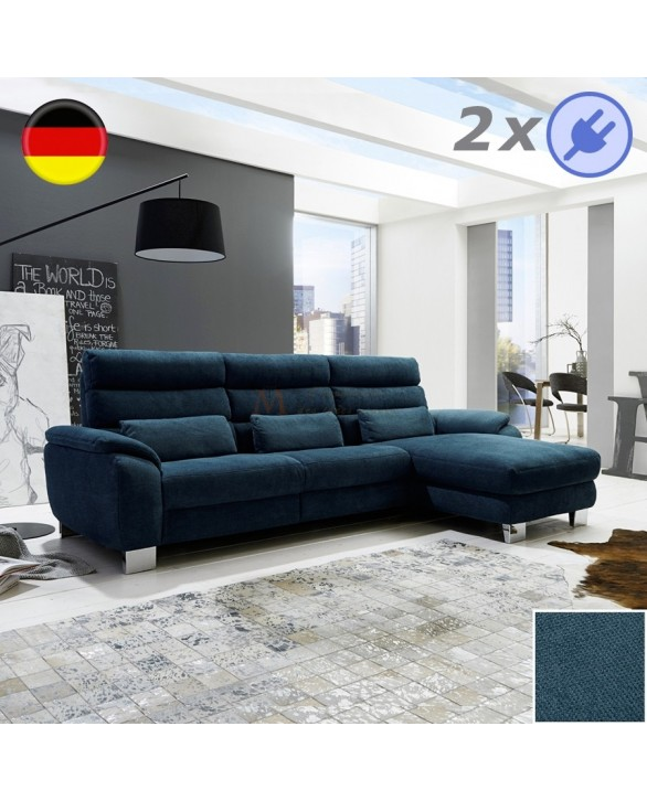 canap m ridienne tissu 2 assises relax lectrique pouf coffre. Black Bedroom Furniture Sets. Home Design Ideas