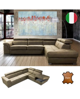 Canapé d'angle 3A2 PERFECT en cuir vachette avec 1 fauteuil terminal avec coffre gain de place