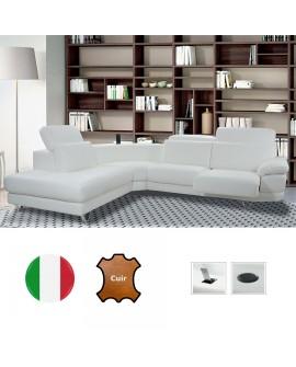 Canapé d'angle 2P+ANG+2P SANDRA avec 2 assises coulissantes et système audio intégré