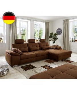 Canapé méridienne en tissu marron BARBADE avec relax familial et têtières réglables