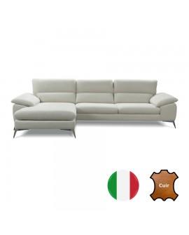 Canapé d'angle 2 ou 3 places + méridienne TANIA cuir vachette 9 couleurs