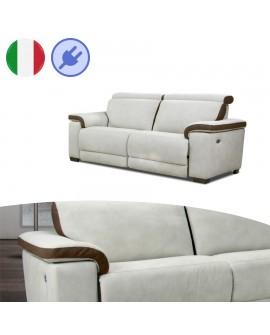 Canapé 3 places DORIA 2 assises relaxation électrique cuir bicolore
