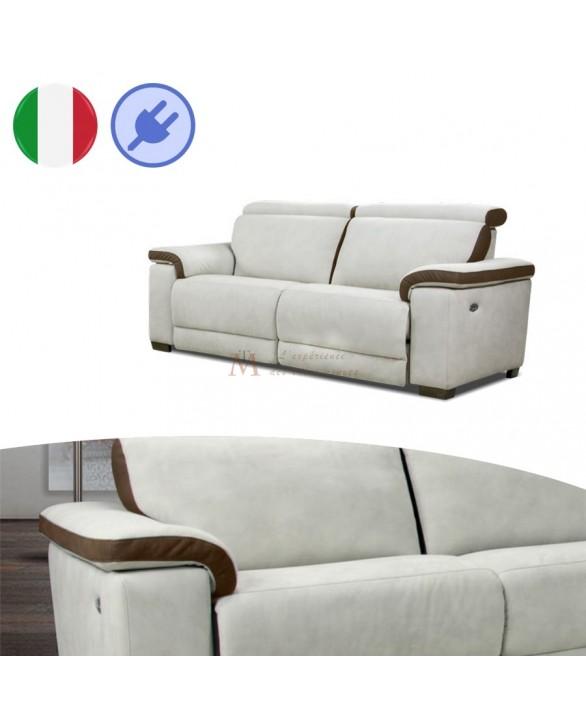 Canap 3p relax lectrique cuir bicolore t ti res r glables - Canape cuir electrique 3 places ...