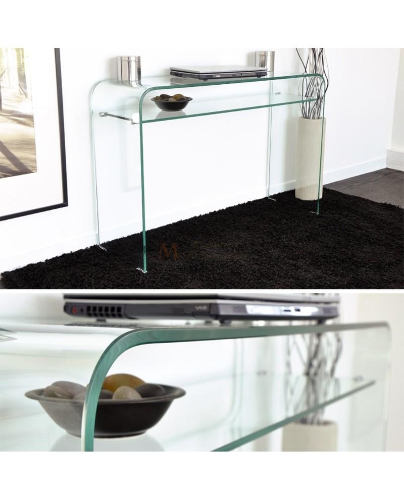 console verre tremp stunning bureau en verre trempac noir bureau verre trempe side bureau en. Black Bedroom Furniture Sets. Home Design Ideas