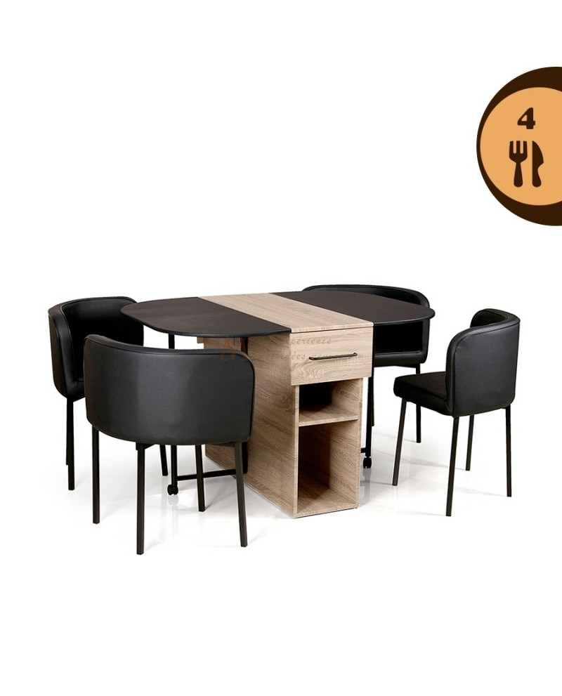 Ensemble repas gain de place table 2 allonges avec 4 chaises for Table chaise gain de place