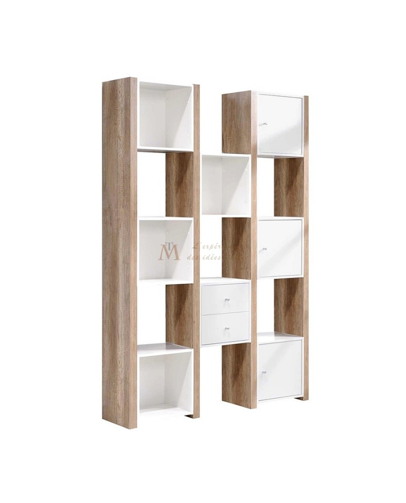 Etag re moderne ch ne griff et laque blanche design moderne for Bibliotheque meuble moderne
