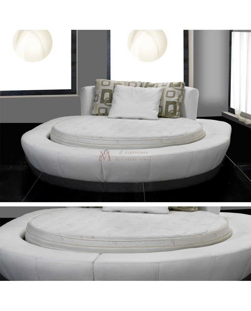 ensemble lit rond cuir blanc avec matelas rond 180 220 cm. Black Bedroom Furniture Sets. Home Design Ideas