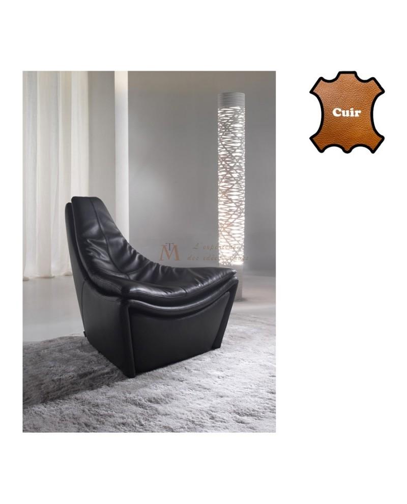 Fauteuil relaxation design cuir avec pouf intégré dans le socle
