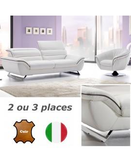Canapé cuir design contemporain revêtement cuir bicolore CALLAS