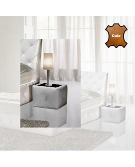 Table de chevet LILLY revêtement cuir molletonné plateau vitre noire