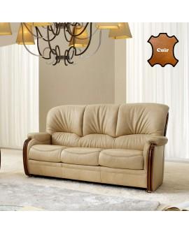 Canapé cuir classique avec boiseries apparentes BRISTOL