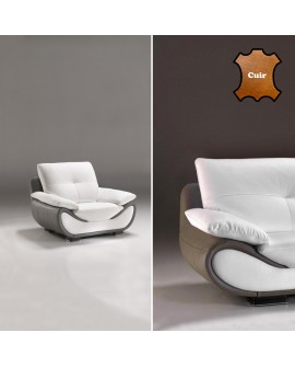 Le fauteuil NATIVE cuir bicolore blanc et taupe grand confort larges accoudoirs