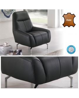 Fauteuil confort cuir vachette noir STAR assise mousse mémoire sur pieds alu