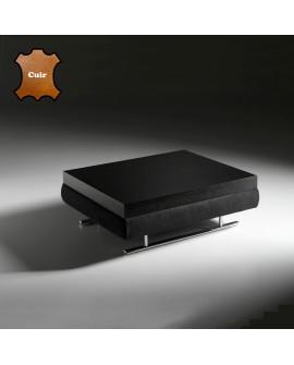 Table basse carrée ou rectangulaire placage de chêne et cuir DORIS