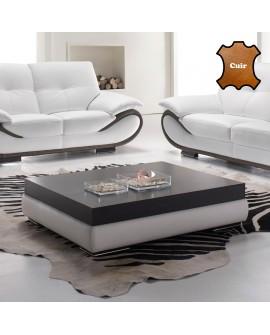 Table basse carrée moderne placage de chêne et cuir blanc PALMYRE pieds bois