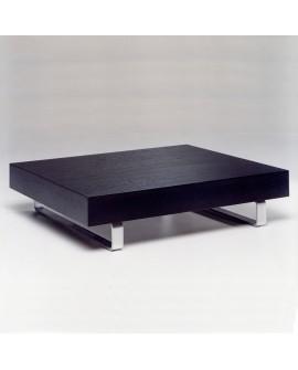 Table basse rectangulaire placage de chêne et aluminium MAYA
