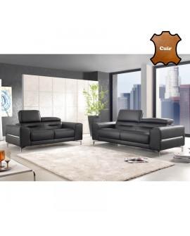 Canapé droit cuir noir 2 ou 3 places JUDY piétement alu