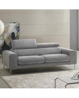 Canapé droit tissu gris 2 ou 3 places WENDY piétement alu 2 têtières relevables
