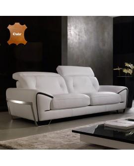 Canapé droit cuir bicolore blanc et noir ZEBRA piétement fer chromé