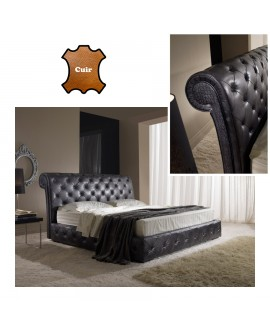 Lit adulte ALTEA cuir molletonné type chesterfield 3 tailles de couchage
