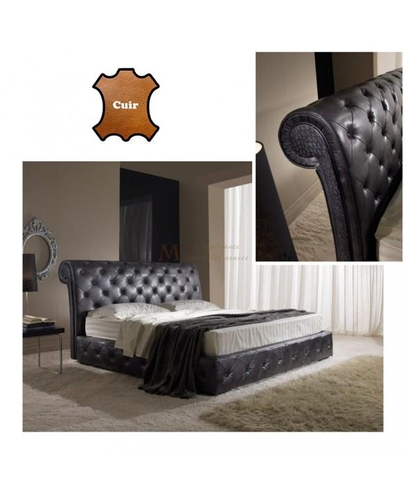 lit adulte cuir molletonn chocolat couchage 160 200 cm. Black Bedroom Furniture Sets. Home Design Ideas