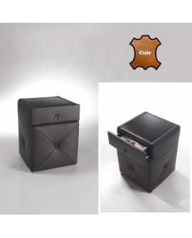 Table de chevet ALTEA revêtement cuir molletonné style chesterfield plateau vitre noire
