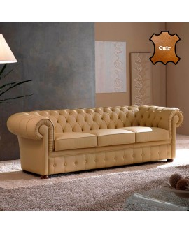 Canapé chesterfield ERIKA revêtement cuir beige fabrication italienne 2 tailles