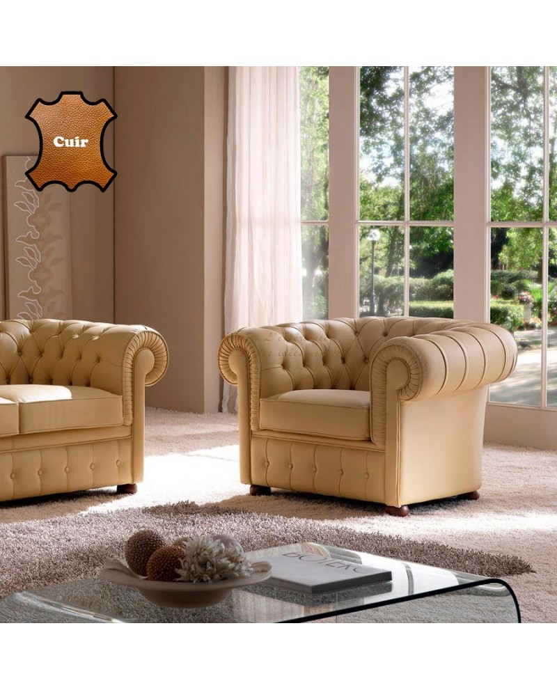 TOP CONFORT Fauteuil chesterfield contemporain cuir beige