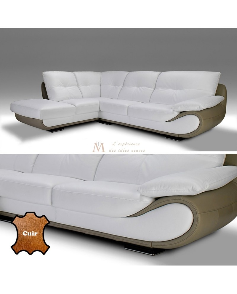 Canapé angle contemporain 5 vraies places cuir blanc et taupe