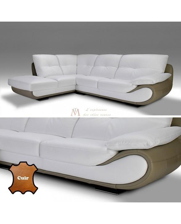 Canapé angle contemporain 5 vraies places cuir blanc et taupe on chaise en transparent, chaise en bois, chaise longue, chaise lounge,