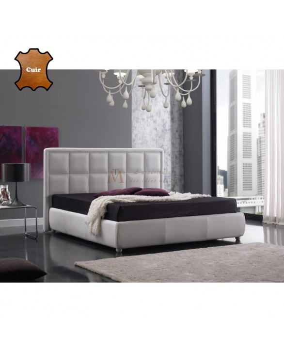 lit adulte cuir blanc molletonn en carr s 3 tailles de couchage. Black Bedroom Furniture Sets. Home Design Ideas