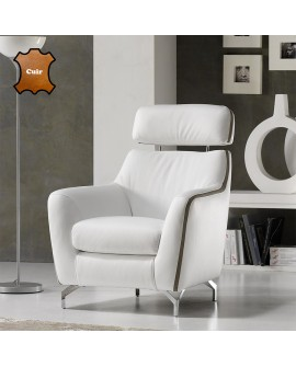 fauteuil confort design cuir bicolore avec appui t te r glable. Black Bedroom Furniture Sets. Home Design Ideas